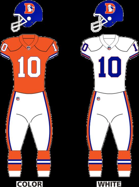 Broncos 1968-96 uniforms