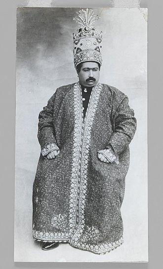 Kiani Crown - Mohammad Ali Shah Qajar wearing the Kayanid Crown, One of 274 Vintage Photographs. Brooklyn Museum.