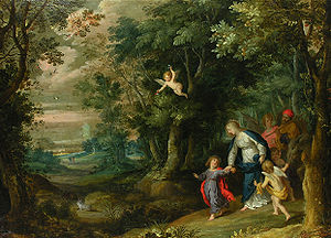 Hans Rottenhammer - Flight into Egypt by Rottenhammer (figures) and Jan Brueghel the Elder (landscape)