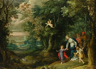 Hans Rottenhammer - Flight into Egypt by Rottenhammer (figures) and Jan Brueghel the Elder (landscape)