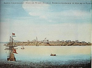 Buenos Aires - Aldus verthoont hem de stadt Buenos Ayrros geleegen in Rio de la Plata, painting by a Dutch sailor who anchored at the port around 1628.