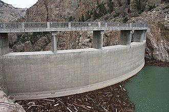 Buffalo Bill Dam - Upstream face showing the added height of the dam