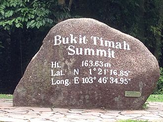Bukit Timah Nature Reserve - Rock marking the summit of Bukit Timah hill within the reserve