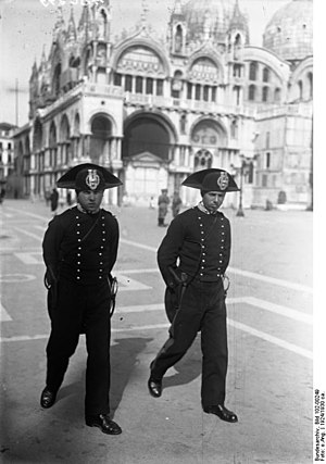 Law enforcement in Italy - Carabinieri in Piazza San Marco, Venice, 1924.