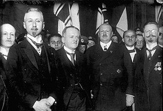 Abdication of Wilhelm II - Monarchist DNVP leader Kuno von Westarp and DNVP member Prince Oskar of Prussia with Prince Eitel Friedrich. December 1924. Later, the nationalist DNVP and NSDAP (Nazi Party) were in a coalition government (1933-1945).