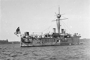 SMS Oldenburg (1884) - SMS Oldenburg in port