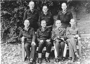 Trent Park - German officers at Trent Park back row from left to right: Generalleutnant Otto Elfeldt, Generalleutnant Ferdinand Heim, Generalmajor Gerhard Bassenge front row from left to right: Generalleutnant Friedrich Freiherr von Broich, General der Panzertruppe Heinrich Eberbach, Generalleutnant Georg Neuffer, Oberst Hans Reimann