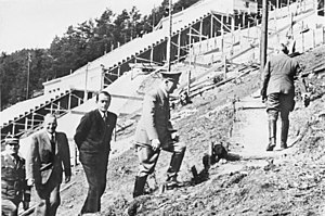 Deutsches Stadion - Adolf Hitler (Albert Speer, behind him) visiting a test construction site near Nuremberg