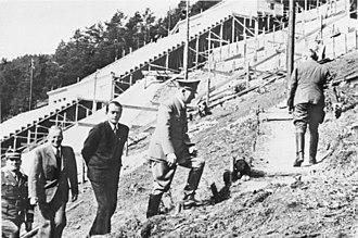 Deutsches Stadion - Adolf Hitler (Albert Speer, behind him) visiting a test construction site near Nuremberg