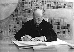 Constitution of East Germany - Ulbricht signing the new constitution, 8 April 1968