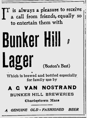 Bunker Hill Breweries - Bunker Hill Breweries' ad for Lager from The Boston Evening Transcript of October 24, 1896