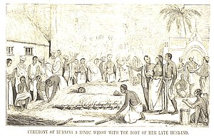 """Ceremony of Burning a Hindu Widow with t..."