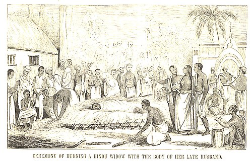 "印度寡妇殉夫(""Ceremony of Burning a Hindu Widow with the Body of her Late Husband""), 取自 Pictorial History of China and India, 1851年."