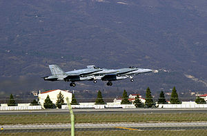 Operation Echo - CF-18 Hornet departs Aviano Air Base, Italy
