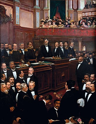 Prudente de Morais - Prudente de Morais (center) as President of the Constituent Congress, presides over the swearing-in of Deodoro da Fonseca as first President of the Republic and of Floriano Peixoto as Vice-President on 26 February 1891, painting by Aurélio de Figueiredo (Republic Museum, Rio de Janeiro).