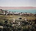 COLOR PHOTO TAKEN IN THE LATE 19TH CENTURY BY FRENCH PHOTOGRAPHER, BONFILS, DEPICTING THE SEA OF GALILEE AND SURROUNDING AREAS. צילום צבע מסוף המאה ה 19 של הצלם הצרפתי בונפיס .jpg