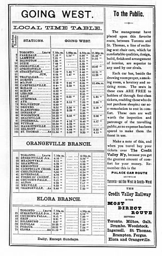 Credit Valley Railway - Timetable from 1883, showing lines and stations served.