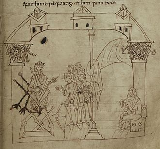 Junius manuscript - An illustration of patriarch Kenan, from the Junius manuscript.