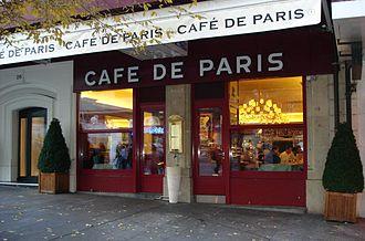 Café de Paris sauce - The Café de Paris on the rue du Mont-Blanc in Geneva, Switzerland, where the sauce and its entrecôte dish were first created