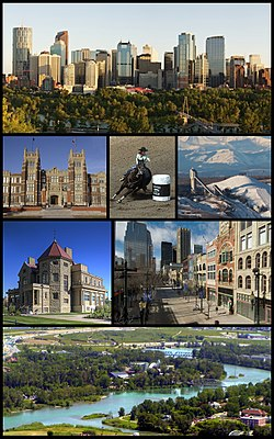 From top: Downtown Calgary, Southern Alberta Institute of Technology, Calgary Stampede, Canada Olympic Park, Lougheed House, Stephen Avenue, Calgary Zoo