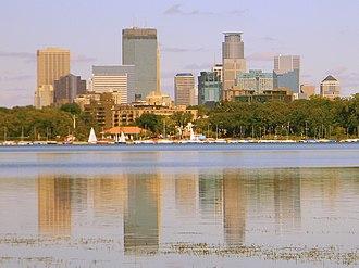 Lake Calhoun - Minneapolis skyline reflected in the lake in  2010