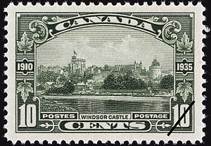 Canadian Bank Note Company - Image: Canada 10 cents Windsor Castle 1935