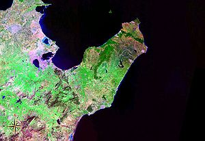 Cap Bon - Cap Bon seen from space (false color)