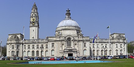Cardiff City Hall in Cathays Park Cardiff City Hall cropped.jpg