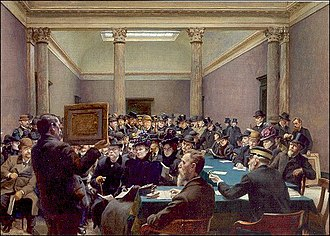 Carl Wentorf - Wendorf's painting An Art Auction at Charlottenborg, 1899