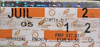 Public transport fares in the Île-de-France - An old monthly carte orange ticket, with magnetic strip