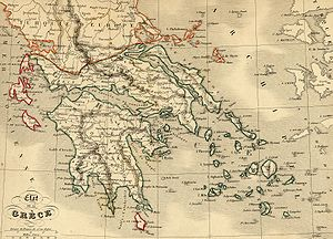 Ottoman–Egyptian invasion of Mani - Map of the boundaries of the Greek Kingdom after the Treaty of Constantinople.