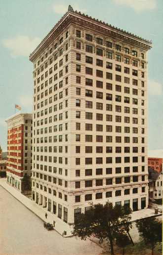 JW Marriott Downtown Houston - Illustration of the Carter Building The Bender Hotel shares Main Street in the background