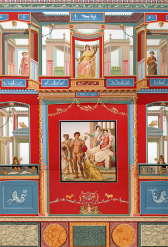 House of the Vettii - A Victorian rendering of paintings in the Ixion room