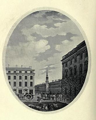 George Perry (engineer) - Castle Street, Liverpool, engraving by Thomas Malton after a drawing by Perry.