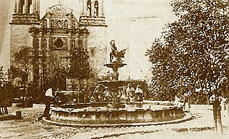 Cathedral of Chihuahua - The Plaza de Armas and Cathedral, c.1874.