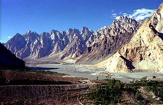 Passu - The Cathedral Ridge viewed from the Karakoram Highway near the village of Passu, Upper Hunza valley, Gilgit-Baltistan.