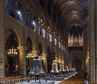 Church bell - The new bells of Notre Dame de Paris on display in the nave in February 2013 before being hung in the towers of the cathedral.
