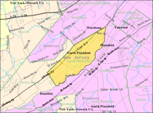 North Plainfield, New Jersey - Image: Census Bureau map of North Plainfield, New Jersey