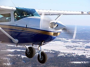 Vortex generator - 1967 Model Cessna 182K in flight showing after-market vortex generators on the wing leading edge