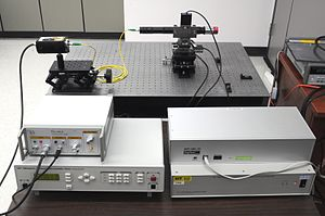 Center for Detectors - This laser spot projector is used in the Center for Detectors. The system is mounted on a 3D motorized stage that produces a small point source for measurements of intrapixel sensitivity.