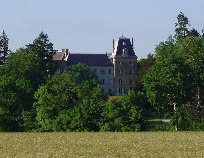 Vue du château de Montribloud depuis la route de Neuville. Le château nous présente sa façade sud avec sa tour du moyen-âge en briques.
