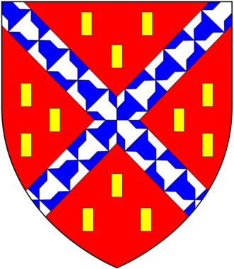 Umberleigh - Arms of the Champernon/Champernowne family: Gules, a saltire vair between twelve billets or.