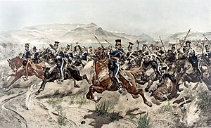 The Charge of the Light Brigade (poem) - A painting of the Charge of the Light Brigade, the event that inspired the poem