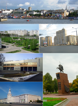 Left to right, top to bottom: A View of Red Square from Cheboksary Bay on Chuvash Republic Day; Hospital Square, Universitetskaya Street; Cheboksary Airport, Chapayev Monument on Chapayev Square; Chuvash State Agricultural Academy