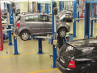 Automobile repair shop - A Chery A1 undergoing regular maintenance at a service garage in Ukraine