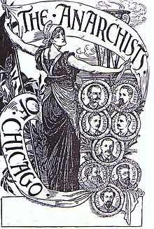 Afiche en simpatía a los anarquistas de Chicago, por Walter Crane.