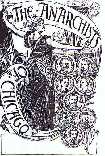 A sympathetic engraving by Walter Crane of the executed anarchists of Chicago after the Haymarket affair, which is generally considered the most significant event for the origin of international May Day observances ChicagoAnarchists.jpg