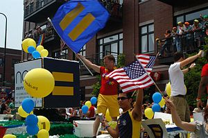 Human Rights Campaign - The Human Rights Campaign often has a large presence at LGBT-related events such as the Chicago Pride Parade as seen above.