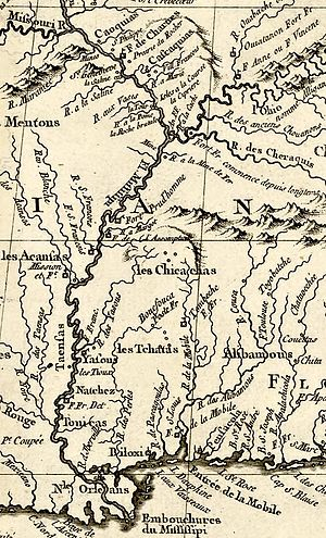Chickasaw Wars - 1764 map showing the field of action of the Chickasaw Wars
