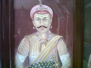 Chimaji Appa - A painting of Chimaji Ballal Peshwa near Parvati temple, a part of the Peshwa Memorial atop Parvati in Pune